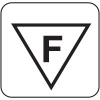 The F symbol has been abolished from the EN 605598 normative and different symbols are now used for identifying if the fitting is not suitable for normally inflammable surfaces. For convenience we will continue to use the old F symbol.