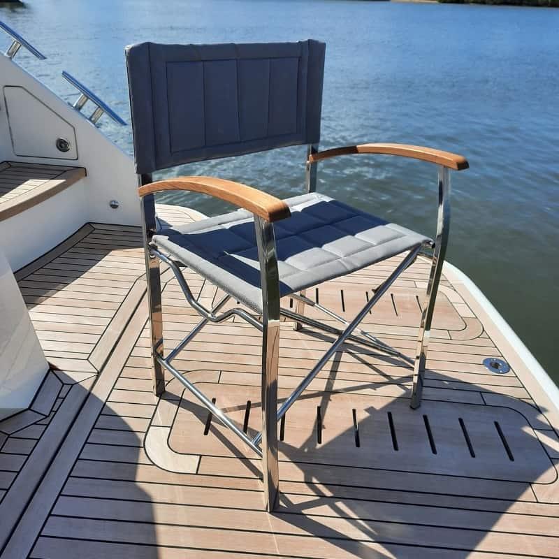 barra teak and stainless steel folding deck chair - gineico marine
