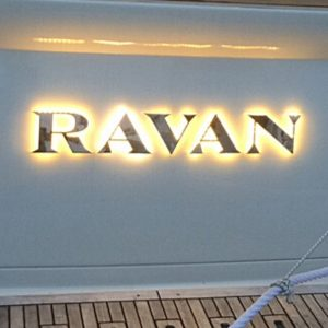 LED boat names - Raven polished stainless steel letters - Gineico Marine