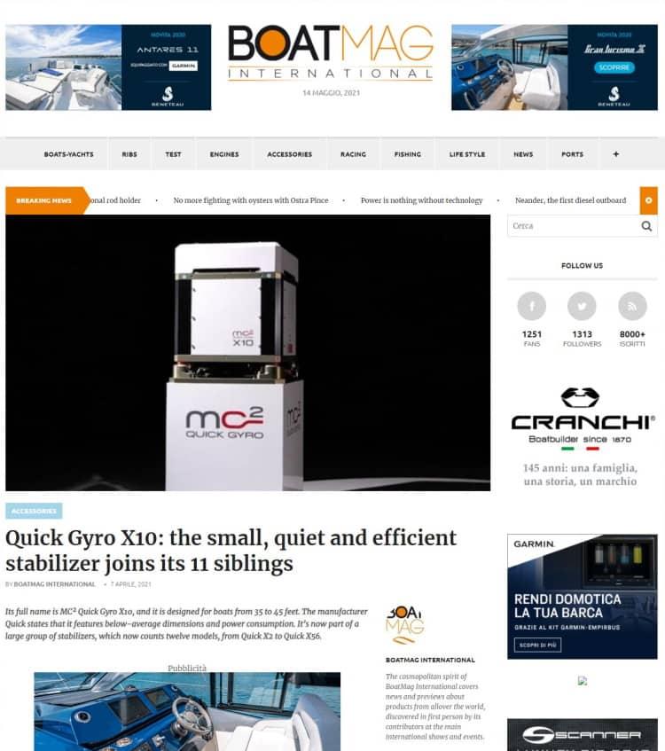 Boat Magazine - Quick gyro X10