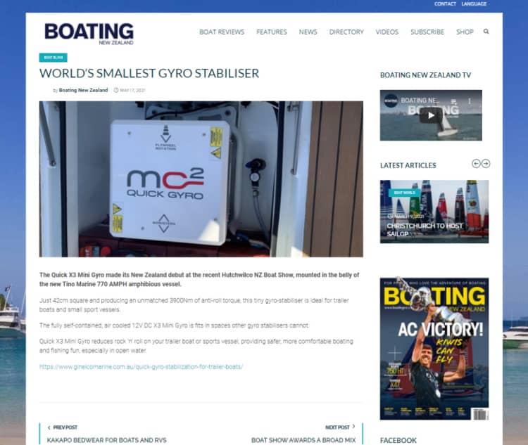 Gineico Marine - Boating New Zealand - Tiny Gyro Stabilizer